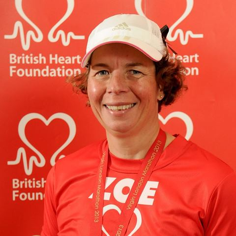As red as my shirt ! Happy but tired London Marathon runner at BHF reception.