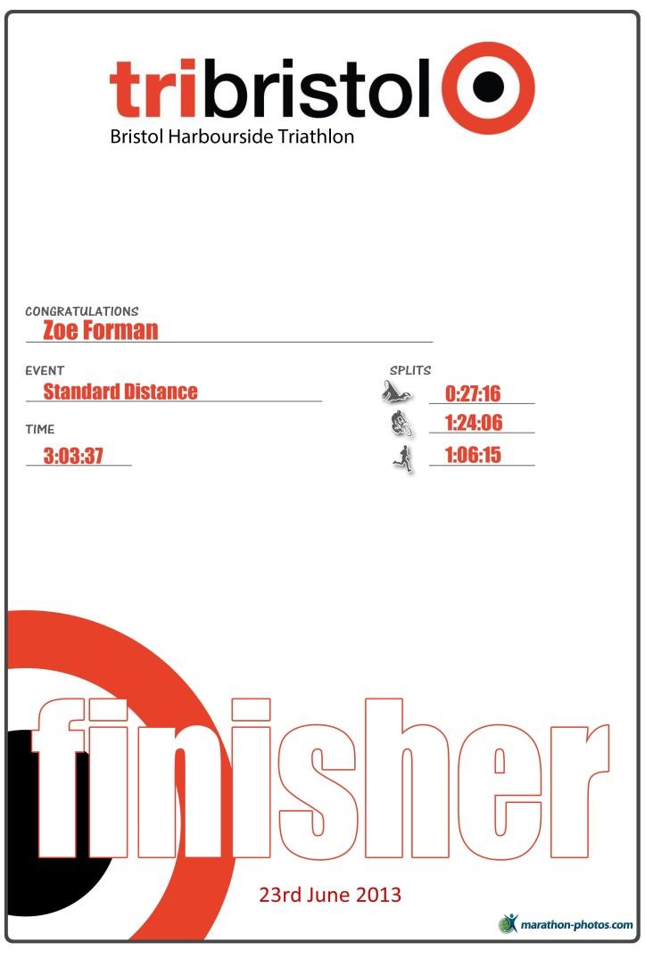 Bristol Tri  Finisher