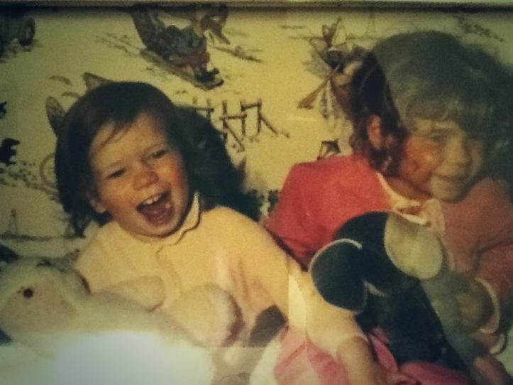 My sis and I having a laugh in 70's with our Basil Brush bedroom wallpaper - happier fox memories