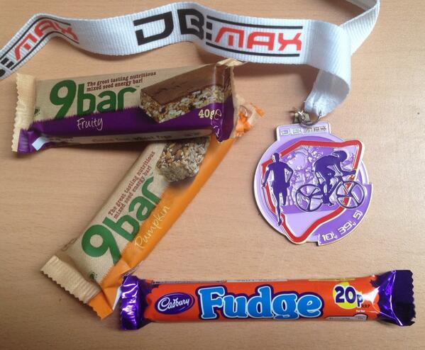 Nice bling and food handed to me at the finish