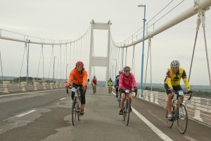 Fab three ride the Severn Bridge